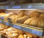 Bread shelves at the Bramley Village Bakery